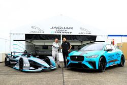 Alejandro Agag, CEO, Formula E, with James Barclay, Team Director, Jaguar Racing, the Gen2 Formula E car, the Jaguar iPace eTrophy car