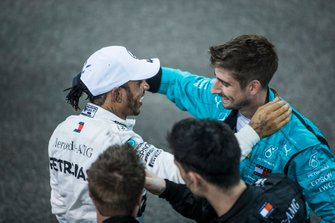 Lewis Hamilton, Mercedes AMG F1, 1st position, celebrates with team mates after the race