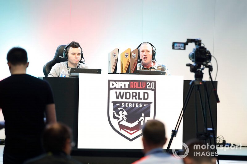 The commentators ready for the Rallycross eSports final to begin