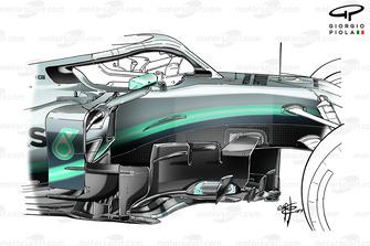 Mercedes AMG F1 W10, dettaglio del vecchio barge board