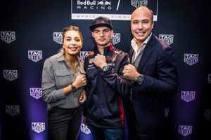 Max Verstappen, Aston Martin Red Bull Racing, host Shelly Sterk and TAG Heuer Country Manager Loek Ibink at the TAG Heuer Max Verstappen Special Edition 2019 launch event in Amsterdam