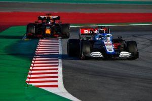 Nicholas Latifi, Williams FW43, leads Alex Albon, Red Bull Racing RB16