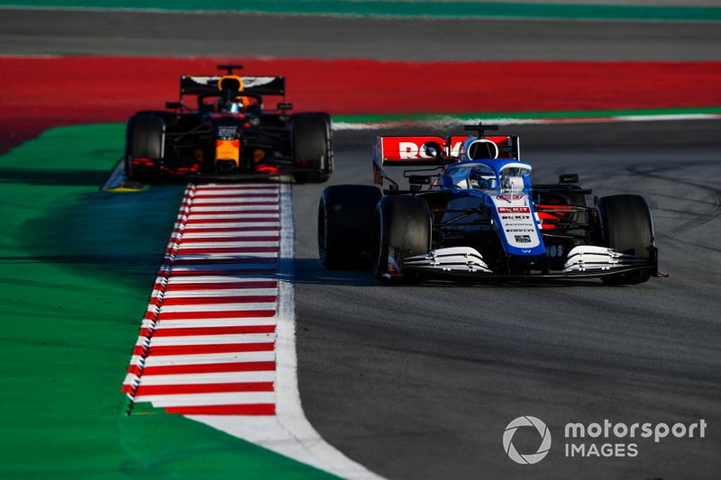 Nicholas Latifi, Williams FW43, leads Alex Albon, Red Bull Racing RB16