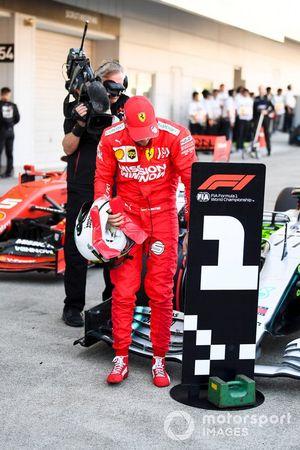 Sebastian Vettel, Ferrari, 2nd position, in Parc Ferme