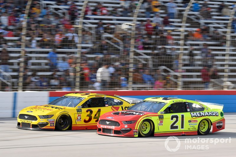 Michael McDowell, Front Row Motorsports, Ford Mustang Love's Travel Stops, Paul Menard, Wood Brothers Racing, Ford Mustang Menards / Jack Links