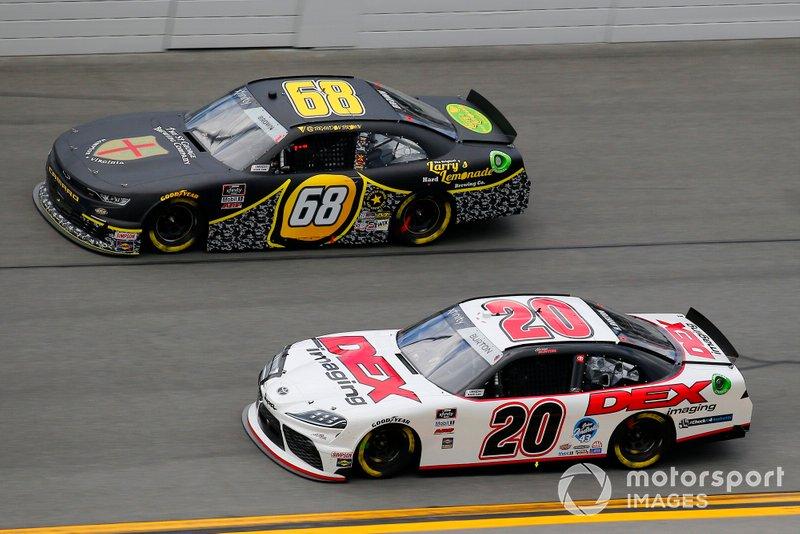 Harrison Burton, Joe Gibbs Racing, Toyota Supra Dex Imaging and Brandon Brown, Brandonbilt Motorsports, Chevrolet Camaro Larry's Lemonade