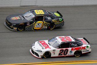 Harrison Burton, Joe Gibbs Racing, Toyota Supra Dex Imaging and Brandon Brown, Brandonbilt Motorsports, Chevrolet Camaro Larry's Lemonade