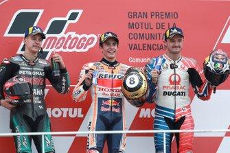 Podio: ganador de la carrera Marc Marquez, Repsol Honda Team, segundo Fabio Quartararo, Petronas Yamaha SRT, tercero Jack Miller, Pramac Racing