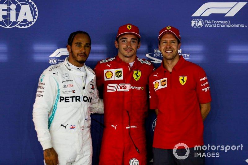 Lewis Hamilton, Mercedes AMG F1, Pole Sitter Charles Leclerc, Ferrari e Sebastian Vettel, Ferrari in Parc Ferme