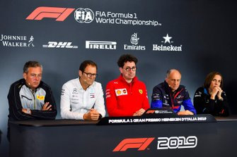 Mario Isola, Racing Manager, Pirelli Motorsport, Aldo Costa, Technical Advisor, Mercedes AMG, Mattia Binotto, Team Principal Ferrari, Franz Tost, Team Principal, Toro Rosso, and Claire Williams, Deputy Team Principal, Williams Racing, in a Press Conference
