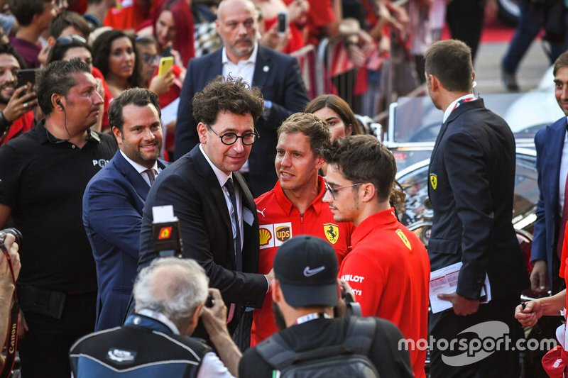 Mattia Binotto, Sebastian Vettel, Ferrari and Charles Leclerc, Ferrari