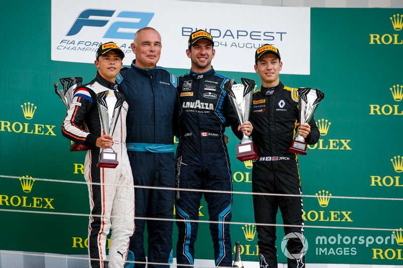 Race winner Nicholas Latifi, Dams celebrates on the podium with the trophy and Nyck De Vries, ART Grand Prix and Jack Aitken, Campos Racing