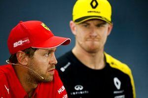 Sebastian Vettel, Ferrari ve Nico Hulkenberg, Renault F1 Team basın toplantısında