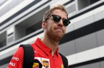 Sebastian Vettel, Ferrari arrives at the track