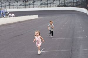 Molly Hamlin leads Owen Larson in a race at Indy.