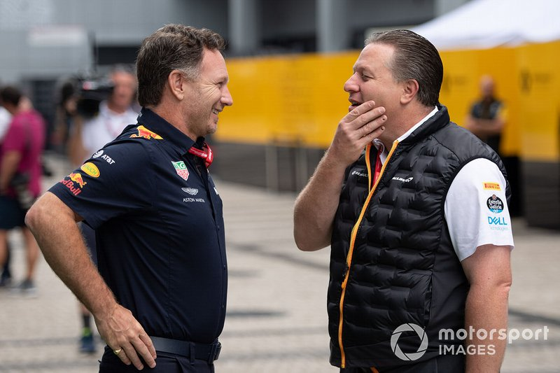 Christian Horner, Team Principal, Red Bull Racing, e Zak Brown, Executive Director, McLaren