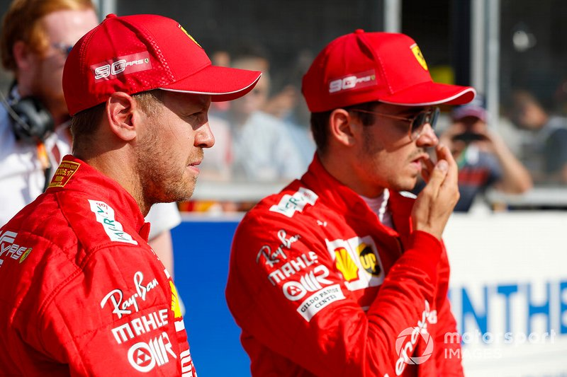 Pole pozisyonu galibi Charles Leclerc, Ferrari, ve Sebastian Vettel, Ferrari