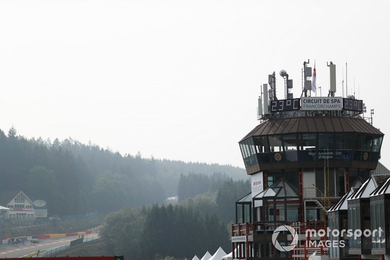 A scenic view of the Spa pit control tower and Eau Rouge