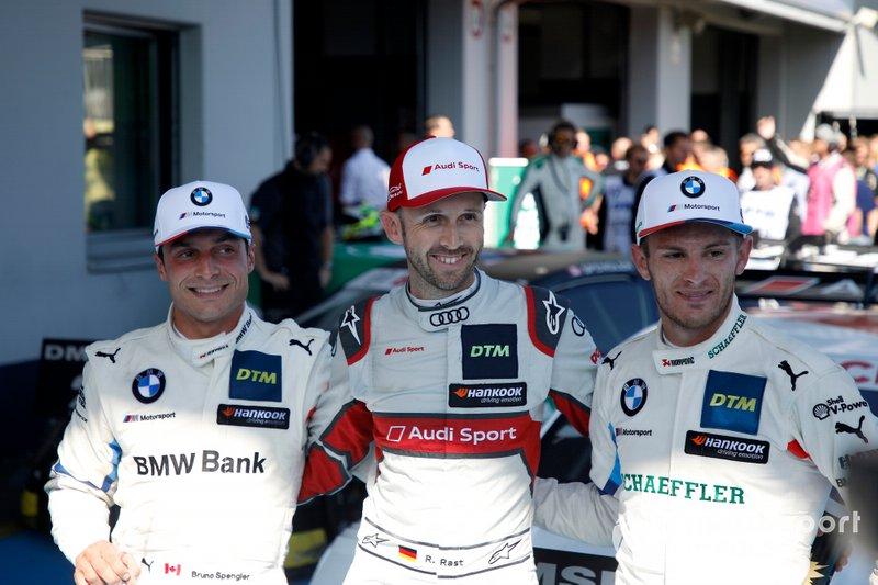 Top 3, ganador de la carrera René Rast, Audi Sport Team Rosberg, segundo lugar Bruno Spengler, BMW Team RMG, tercer lugar Marco Wittmann, BMW Team RMG