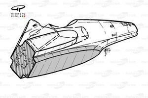 Ferrari F92A, dettaglio fondo e chassis