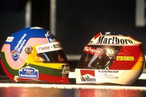 Jacques Villeneuve and Michael Schumacher helmets