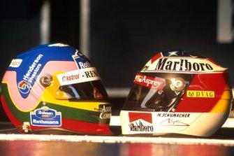 Jacques Villeneuve and Michael Schumacher helmets