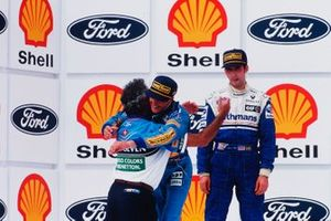 Michael Schumacher, Benetton Ford with Flavio Briatore, Benetton team manager and Damon Hill, Williams Renault