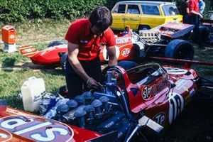 A mechanic works on Ronnie Peterson's March 711 Ford