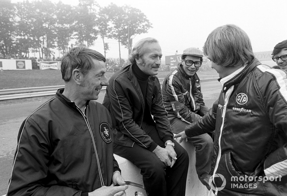 Ron Tauranac, Lotus boss Colin Chapman, Jabby Crombac, Journalist, and Ronnie Peterson, Lotus F1 driver for 1973
