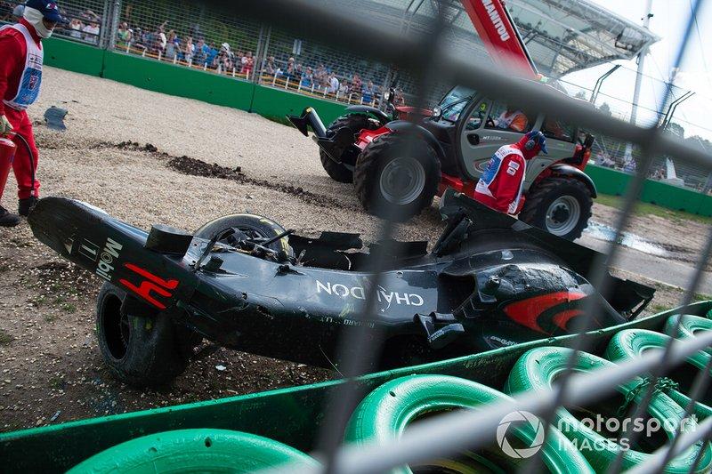 The crashed car of Fernando Alonso, McLaren MP4-31