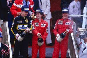 Alain Prost, McLaren, Keke Rosberg, McLaren, Ayrton Senna, Lotus