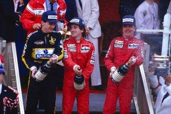 Alain Prost, McLaren, Keke Rosberg, McLaren, Ayrton Senna, Lotus, GP di Monaco del 1986