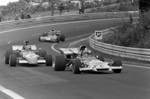 Jean-Pierre Beltoise, BRM P160B in the spare 'T' car leads Ronnie Peterson, March 721G Ford and François Cevert, Tyrrell 002 Ford