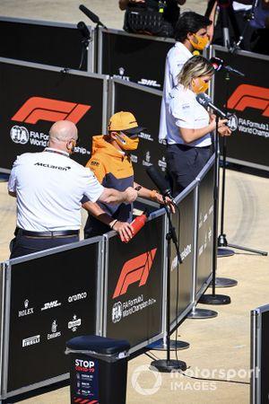 Lando Norris, McLaren and Carlos Sainz Jr., McLaren speaks to the media