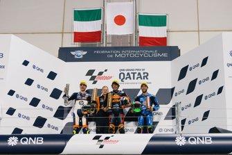 Podium: Aki Ajo, Lorenzo Baldassarri, Pons HP40, Tetsuta Nagashima, Red Bull KTM Ajo, Enea Bastianini, Italtrans Racing Tea