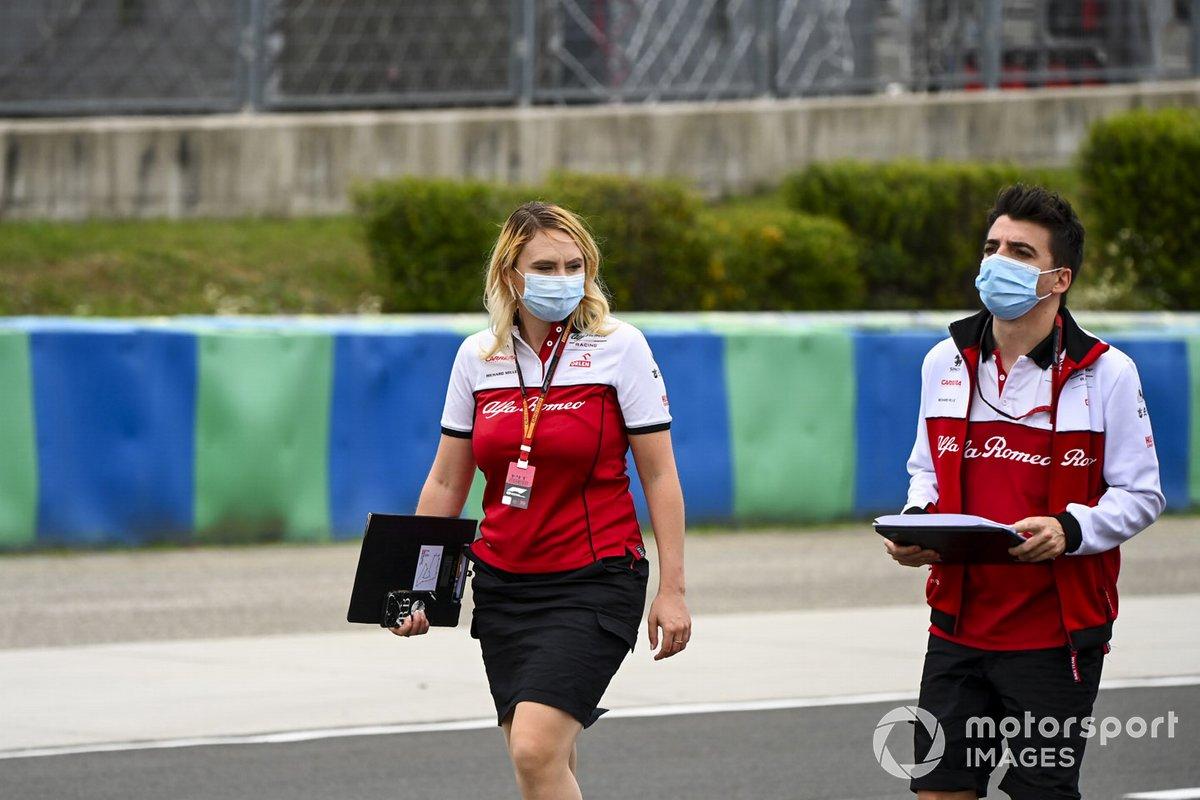 Ruth Buscombe, Head of Race Strategy, Alfa Romeo Racing walks the track