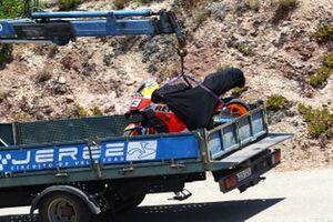 Bike of Alex Marquez, Repsol Honda Team on a truck