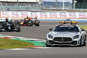 The Safety Car Lewis Hamilton, Mercedes F1 W11, Valtteri Bottas, Mercedes F1 W11, and Max Verstappen, Red Bull Racing RB16