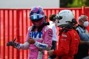 Lance Stroll, Racing Point, Sebastian Vettel, Ferrari, in Parc Ferme