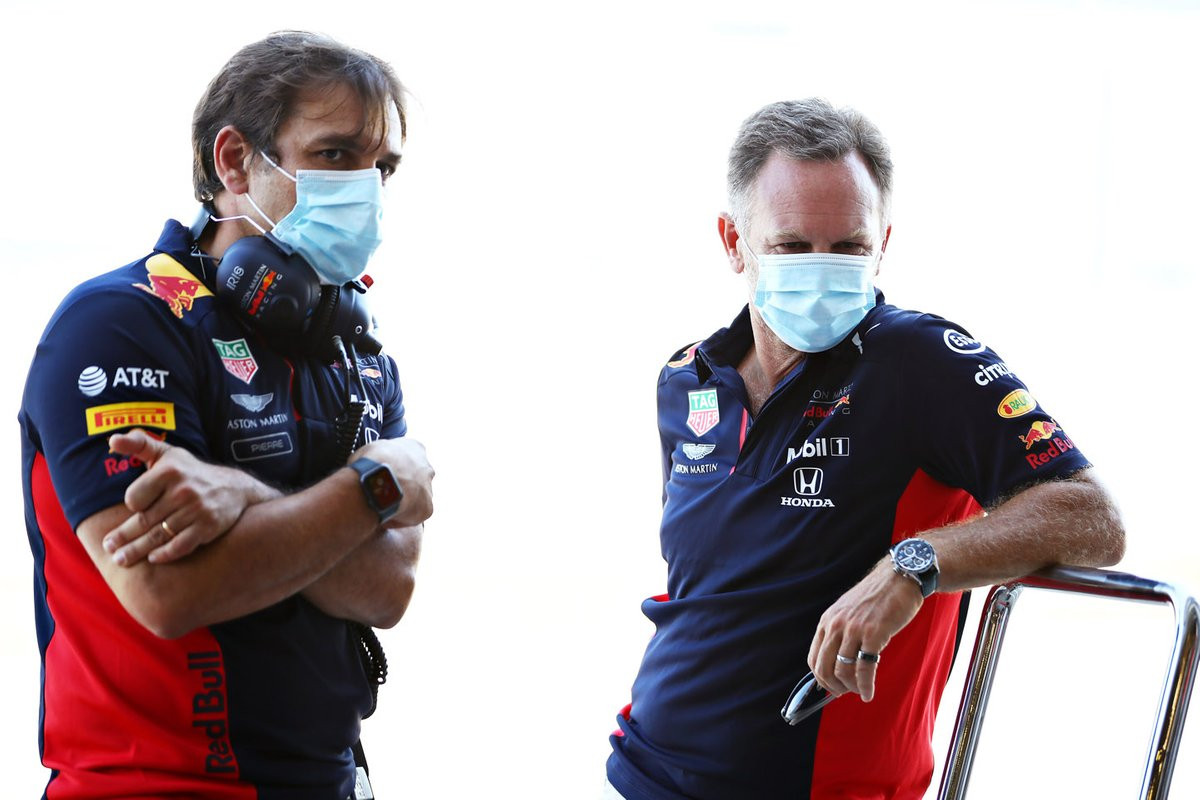 Red Bull Racing Team Principal Christian Horner and Pierre Wache, Chief Engineer of Performance Engineering
