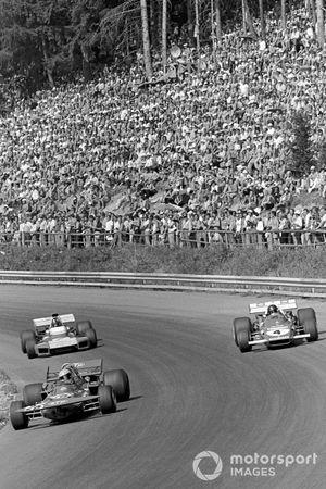 Niki Lauda, March 711, Jacky Ickx, Ferrari, Graham Hill, Brabham