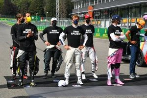 Daniel Ricciardo, Renault F1, Romain Grosjean, Haas F1, Valtteri Bottas, Mercedes-AMG F1, Pierre Gasly, AlphaTauri, Antonio Giovinazzi, Alfa Romeo, Lance Stroll, Racing Point, and Carlos Sainz Jr., McLaren, stand in support of the End Racism campaign