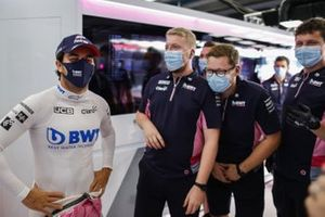 Sergio Perez, Racing Point, in the garage with team mates