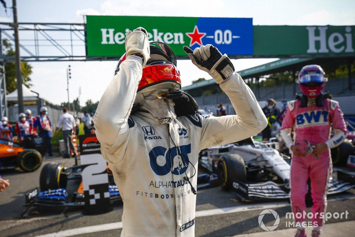 Race Winner Pierre Gasly, AlphaTauri celebrates in Parc Ferme