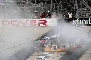 Zane Smith, GMS Racing, Chevrolet Silverado Cystic Fibrosis Foundation celebrates his win
