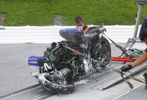 Bike of Maverick Vinales, Yamaha Factory Racing after his crash