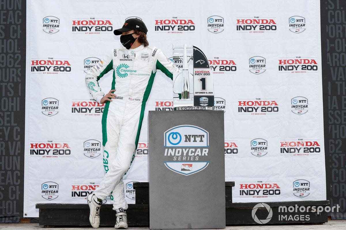 Podio: ganador Colton Herta, Andretti Harding Steinbrenner Autosport Honda