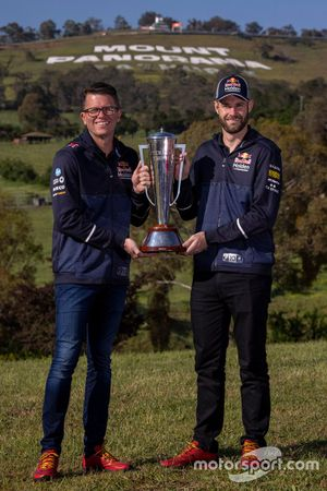 Garth Tander and Shane van Gisbergen, Triple Eight Race Engineering with the Peter Brock trophy