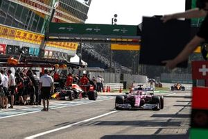 Sergio Perez, Racing Point RP20, in the pit lane