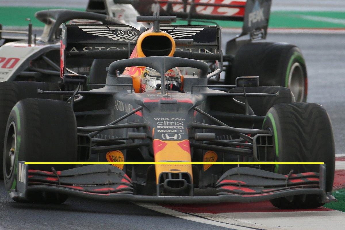 De voorvleugel van Max Verstappen's RB16, links duidelijk hoger dan rechts.
